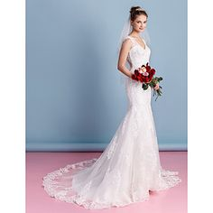 LAN TING BRIDE Trumpet / Mermaid Wedding Dress See-Through Court Train Sweetheart Tulle with Appliques – USD $ 249.99