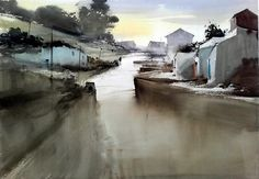Manolo Jimenez, May 2016 Watercolor Water, Watercolor Artists, Watercolor Landscape, Abstract Watercolor, Artist Painting, Abstract Landscape, Landscape Paintings, Watercolor Paintings, Water Element