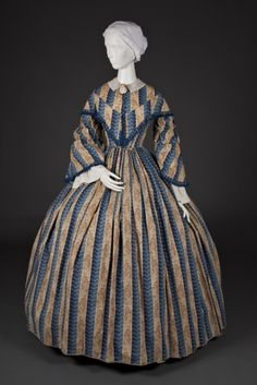 In the Swan's Shadow - Woman's Dress c. 1855-60  American Blue and light brown printed cotton