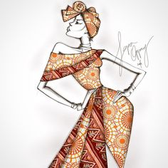 """LIfe Of An African Fashion Illustrator — """"Mamkpa"""" Fashion Illustration by Papa Oppong ..."""