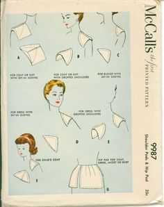 Image result for 1950s shoulder pads sewing pattern