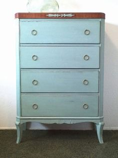 Antique 1910 Federal Dresser-Chest of Drawers-Tall Boy-4 Drawers-Original Brass Pulls-White Furniture Co-Annie Sloan Chalk Paint -Vintage