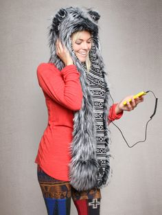 What's Your Spirit Animal? ....... MYSTIC WOLF.......................... (Faux Fur, Music) ......................... with built-in WASHABLE SPEAKERS that you can use to listen to music!  Traits: Powerful > Fierce > Confident.  Find out more about the #Mystic #Wolf #Spirit #Animal at: https://www.spirithoods.com/adults/womens/hb3mysticwolf/1254/#  $139 #Gifts #Fashion #SpiritHood #SpiritHoods #Hoodie #FauxFur #Speakers #Music #mp3player #HB3 #Tech #Women #iPod #Technology #Paws #Scarf