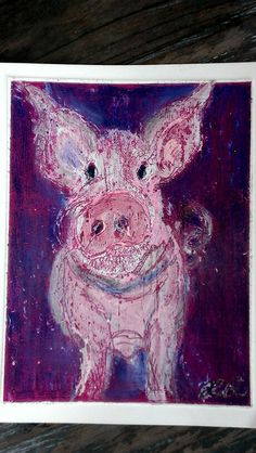 The Pig..cards I made for my fellow Pig Lovers..acrylic and oil pastel