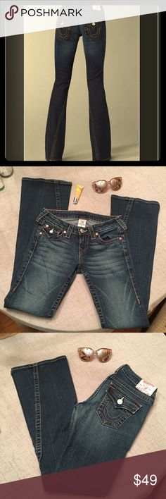 """True Religion Bootcut Joey Jeans """"Joey"""" stretchy jeans, size 28, inseam is 32"""" like new, no flaws. Can provide more pictures if needed.  Happy to bundle :)   All items come from a clean, non smoking home.   Check out my other items! Lots of Nike, Victoria Secret, Under Armour, Lululemon, American Eagle, J Crew, Athleta, Buckle & Miss Me items. True Religion Jeans Boot Cut"""