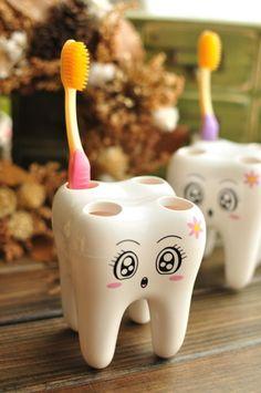 toothbrush holder - http://zzkko.com/n219762-oreign-creative-home-frnishings-lovely-lady-playfl-expression-modeling-four-hole-dental-toothbrush-holder-toothbrush-holder.html $14.69
