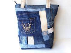big denim eco bag eco friendly blue jeans tote by LIGONbyRuthi