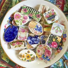 Coming up later today... #dishfunctional #laurabethlove #brokenchinajewelry #bcj #brokenplate #brokenchina #roses #antiquechina #bluebird #flowblue #chintz #jewelryartist #jewelrydesigner #etsyseller #recycled #upcycled #repurposed #ecofriendly #ecofriendlyjewelry