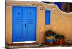 George Oze Premium Thick-Wrap Canvas Wall Art Print entitled Adobe Walls with Blue Doors, Ranchos De Taos, New Mexico Mexico Blue, Taos New Mexico, New Mexico Homes, Exterior House Colors, Exterior Paint, Stucco Colors, Exterior Homes, Santa Fe Home, Adobe House
