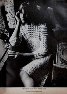 Nat Kaplan embroidered cotton lace evening dress 1966