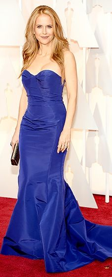 Blue moment! John Travolta's stunning wife looked amazing in a Gustavo Cadile strapless mermaid gown.