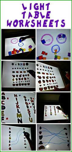 DIY light table worksheets- COOL way to do different activities! Fire Pit Lighting, Kids Lighting, Sensory Boxes, Sensory Table, Play Based Learning, Learning Through Play, Fun Learning, Reggio Emilia, Diy Light Table