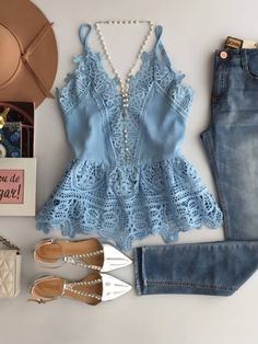 Baby blue lace top + jeans + white flats