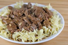 Beef Tips Recipe _ This recipe for beef tips is so delicious and easy to prepare you will probably want to add it to your weekly rotation of meals. Beef tips consist of cubed beef that is cooked in a gravy mixture and is served over egg noodles or mashed potatoes.