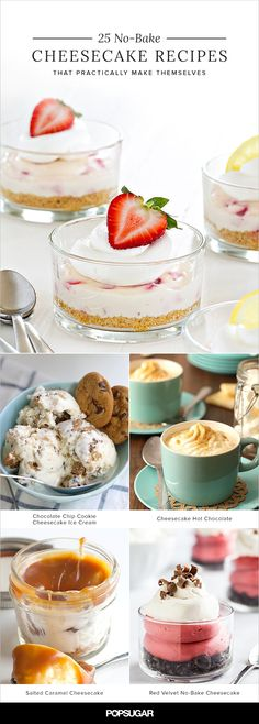 These no-bake cheesecake recipes could not be easier to master. They practically… These no-bake cheesecake recipes could not be easier to master. They practically make themselves! Chocolate Chip Cookie Cheesecake, Peanut Butter Cup Cheesecake, Cheesecake Ice Cream, Baked Cheesecake Recipe, No Bake Cheesecake, Chocolate Chip Cookies, Just Desserts, Delicious Desserts, Dessert Recipes