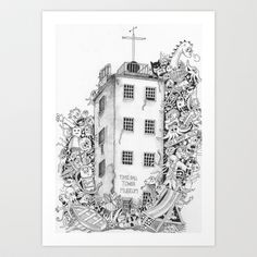 Timeball Tower Doodle Invasion Art Print Free Coloring PagesColoring