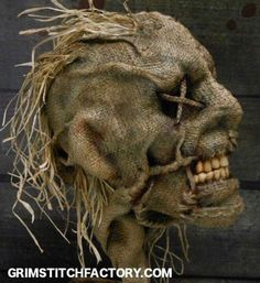 Scarecrow mask: just burlap sewn together with creepy eyes and teeth. Description from pinterest.com. I searched for this on bing.com/images