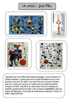 Discover a History of the Arts sheet by artist Joan Miro and an overview of . Art Montessori, Montessori Elementary, Joan Miro Paintings, Flags Europe, Classe D'art, Art History Memes, Art Worksheets, Ecole Art, Art Programs