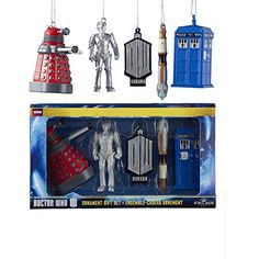 Doctor Who - Holiday Ornaments 5 Piece Set: Dalek, Cyberman, Doctor Who classic logo, Sonic Screwdriver & TARDIS Christmas ornaments.