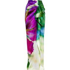 Roberto Cavalli Floral-print stretch silk-satin maxi skirt ($315) ❤ liked on Polyvore