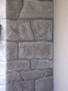 faux stacked stone paint treatment | Outdoor Fireplace Faux Stone