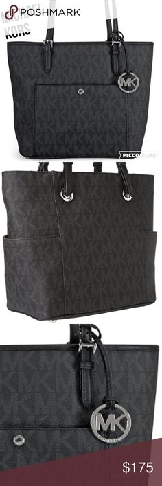 MICHAEL KORS BLACK HANDBAG NWT JUST IN MICHAEL KORS BLACK HANDBAG NWT. Big outside front pocket and 2 outside side pockets.  Inside zip middle section.  This holds so many things.  Michael Kors Bags Totes