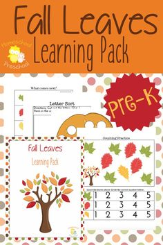 Your little ones will LOVE learning this fall with this fall leaves-themed learning pack for your preschoolers! | homeschoolpreschool.net