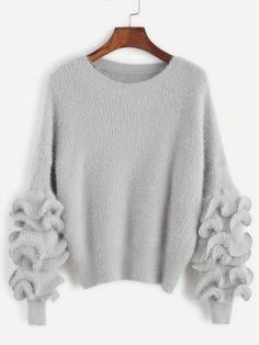$26 Grey Drop Shoulder Ruffle Trim Fuzzy Sweater - One Size Only