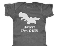 Rawr I'm ONE - First 1st Birthday Dinosaur Party Matching Mommy saurus Rex - Baby Bodysuit or Shirt