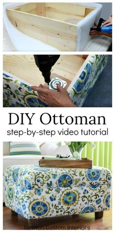 Learn how to make an ottoman with this step-by-step video upholstery tutorial! #newtoncustominteriors #upholsteryprojects #diyprojects #ottoman