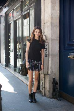 Andreea Diaconu - Black T-Shirt + Printed Skirt + Booties