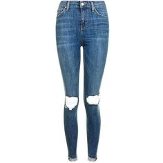 TopShop Moto Stepped Rip Jamie Jeans (1.640 UYU) ❤ liked on Polyvore featuring jeans, distressed jeans, high waisted distressed jeans, high-waisted skinny jeans, blue ripped skinny jeans and ripped jeans