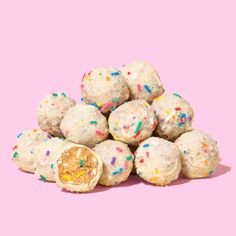 Milk Bar's B'Day Truffles are vanilla rainbow cake mixed with vanilla-infused milk, coated with white chocolate and rolled in rainbow cake crumbs. It's the classic vanilla funfetti taste from our birthday cake packed into a single bite!