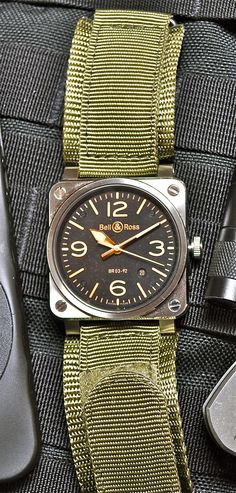 Bell & Ross BR03-92 Golden Heritage with B&R Olive Synthetic canvas strap. The watch comes standard with a handsome brown leather strap and black synthetic strap, but I have been quite enjoying the olive look.