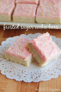 Frosted Sugar Cookie Bars - http://www.thebakerupstairs.com/2014/02/frosted-sugar-cookie-bars.html