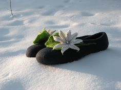 White lily/deep water slippers by Briga on Etsy, $65.00