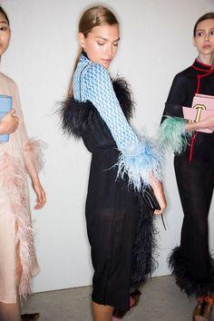 Prada Spring 2017 Ready-to-Wear feather trim details.
