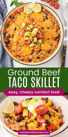 Mexican Ground Beef Taco Skillet with rice and beans is an easy, cheesy one-pan dinner to change up Taco Tuesday. Flavorful spices and plenty of cheese make this a kid-friendly favorite, especially when they can customize it with their favorite toppings. Quick prep, easy cleanup, and naturally gluten free!