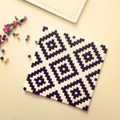 Geometric design coaster hama perler beads by mezasaurusrex Perler Bead Designs, Hama Beads Design, Hama Beads Patterns, Beading Patterns, Bracelet Patterns, Hama Beads Coasters, Diy Perler Beads, Perler Bead Art, Art Perle