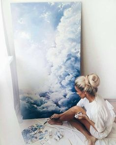 """Canggu I"" Cloud Painting drawing acuarela Acrylic Painting Cool Artwork, Artwork Ideas, Amazing Artwork, Love Art, Creative Art, Watercolor Art, Watercolor Clouds, Art Drawings, Art Projects"