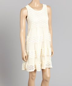 Look at this Aqua Blue Ivory Crochet Dress on #zulily today!
