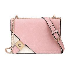 Metal Embellished Chain Color Block Crossbody Bag Pink ($21) ❤ liked on Polyvore featuring bags, handbags, shoulder bags, crossbody shoulder bag, pink handbags, pink cross body purse, pink shoulder handbags and metal purse