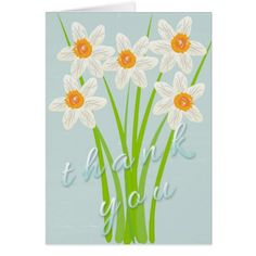 Flowered paper party hat flower paper wedding thankyoucards pretty cute watercolor art daffodil thank you card mightylinksfo