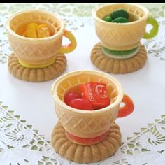 Kids mad hatter tea party cones made into teacups for the ice cream table