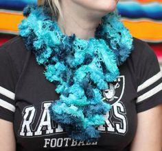 Teal Feathery Crochet Scarf Green Scarf Ruffle Ruffle by kidalia
