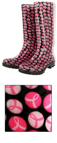 Pink Ribbon Rainboots  Each item you buy helps give free mammograms administered by clinics and hospitals.