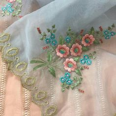 Embroidery Suits Punjabi, Hand Embroidery Dress, Cutwork Embroidery, Bead Embroidery Patterns, Embroidery Suits Design, Embroidery On Clothes, Flower Embroidery Designs, Machine Embroidery, Neck Designs For Suits