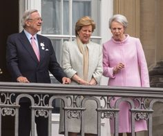 danishroyalfamily:  Queen Margrethe's 75th Birthday, April 16, 2015-King Constantine and Queen Anne-Marie and Princess Benedikte
