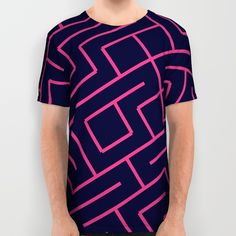 Pink blue maze All Over Print Shirt by Laly_sb #T-shirt #tee #fashion #clothing #clothes #abstract #all over print #unisex #maze pink #blue #shapes