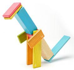Magnetische Holzbauklötze 14-teiliges Set Tints von Tegu. Beispiel T-REX
